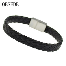 Buy OBSEDE New Fashion Men Bracelet Black Leather Titanium Stainless Steel Rope Chain Bracelets & Bangles Men Magnetic Clasps for $2.30 in AliExpress store