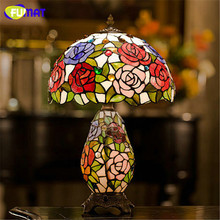 FUMAT Stained Glass Table Lamp Antique Style Glass Rose Shade Table Lights For Living Room Bedside Warm Stand Lamp Table Lights(China)
