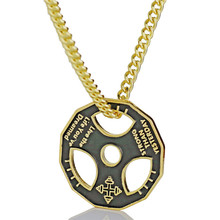 Fitness Pendant Necklace For Men Women Stainless Steel Chain Barbell Weight Plate Charm Necklace Sports Fitness Jewelry