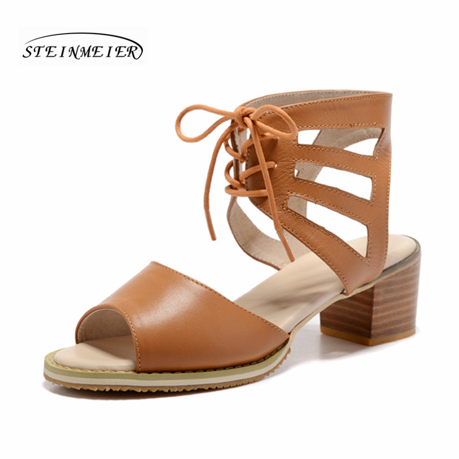 women summer genuine leather oxford sandals handmade retro oxford shoes brown white brogue oxfords shoes for women<br>