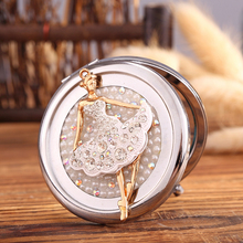 Engrave words free,bling Crystal Mini Beauty pocket mirror,ballet girl angel,makeup compact mirror,souvenir gifts,free shipping(China)