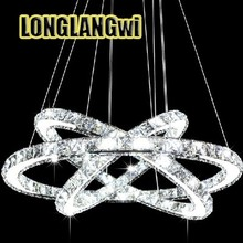 Hot Selling 3 Diamond Ring Crystal Light Fixture, LED Pendant Light suspension Lumiere Modern LED Lighting Circles Lamp