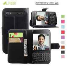 Limelan For BlackBerry Q20, Luxury Litchi Wallet PU Leather Phone Case for Blackberry Classic Q20 Cover Skin Fundas Coque Capa