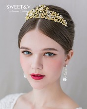 Stunning Pearl Rhinestone Crown Bridal Tiara Princess Headpieces - Jeweled Hair Ornaments for Wedding Pageant Party Prom Photo(China)