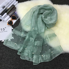 Summer fashion lady bufanda pure color silk scarf 2017 new silk + wool scarf Pearl sense falling silk scarf shawl gift A932