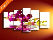 100% Hand painted oil painting five panels stretched ready to hang modern flower oil paintings for bedroom(China)