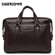 TigerTown Quality Brand Fashion Genuine Leather Men's Handbag Business Cross Shoulder Computer Bags Real Messenger Bag Coffee