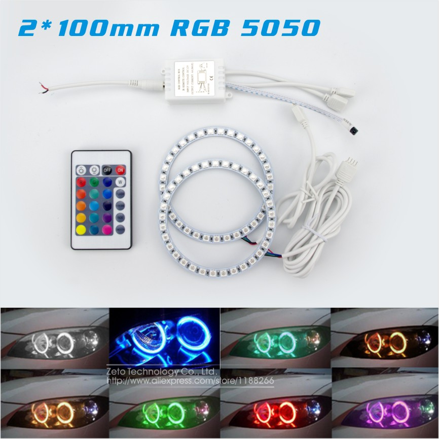 2x100mm Angel Eyes 33SMD 5050 RGB Halo Rings LED Flash Multi-Color Car Motorcyle Headlight DRL Fog Light With Remote Control<br><br>Aliexpress