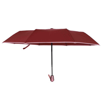 Susino Windproof Umbrellas Fully-automatic Open Sturty Metal  Pongee Compact Durability Three-folding Umbrella 3509 Red