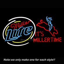 Miller Lite Bullrider Neon Sign Glass Business Recreation Room Pub Handcraft Neon Bulbs Store Display Commercial Gifts 30x20(China)