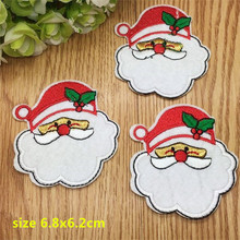 New Arrival 10 pcs Father Christmas Embroidered patches iron on cartoon Motif RS Applique embroidery accessory(China)