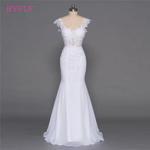 Buy Backless Vestido De Noiva 2018 Beach Wedding Dresses Mermaid Deep V-neck Appliques Lace Cheap Boho Wedding Gown Bridal Dresses for $87.00 in AliExpress store