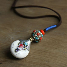 Chinese style jewelry wholesale ethnic Nepalese droplets pendant hand woven art retro long sweater chain female necklace(China)