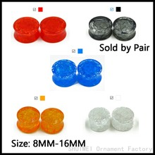 SHUIMEI Pair Acrylic Crack Shatter Broken Glass Double Flared Saddle Ear Flesh Tunnel Plug Gauge Ear Stretcher Piercing Jewelry