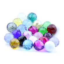 10pcs 30mm mixed color Glass prism parts Crystal feng shui ball Crystal faceted ball for lighting/wedding room/window decor