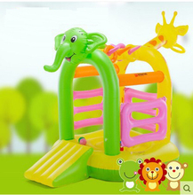 2017 Free Shipping Child inflatable bouncer home trampoline with sliding board kids inflated trampoline with cute animals shape