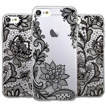 Fashion Charming Sexy Woman Lace Hollow Out Flower Phone Cases For iphone 5 5s SE 6 6s 7 Plus Soft TPU Silicon Cover Capa