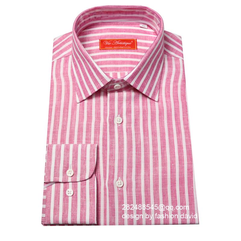Pink And White Striped Shirt Mens - Greek T Shirts