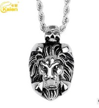 China Supplier Kalen 2017 New Fashion Animal Lion Pendant  Stainless Steel Personalised Lion Head Pendant Long Chain Necklace