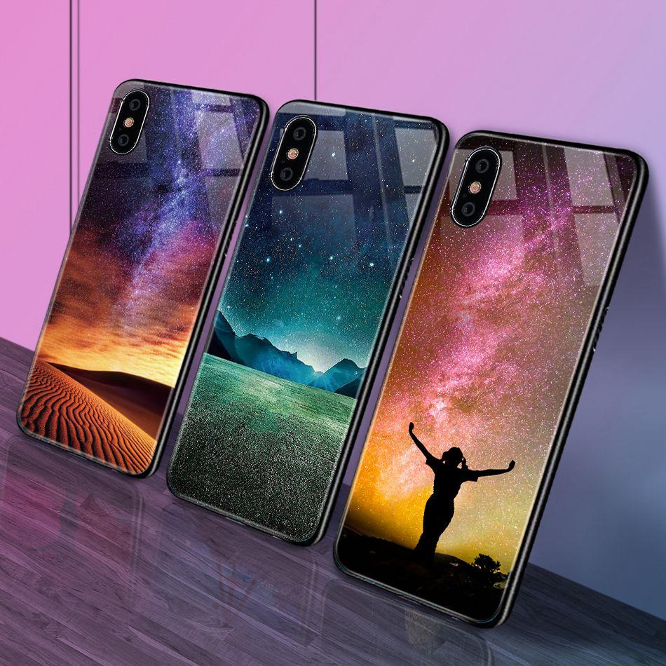 iPhone X Xr Xs Max豪华硅胶手机壳适用于iPhone 6的iPhone 7 8 Plus手机壳适用于iPhone 6 6S Coque的渐变钢化玻璃保护套(21)