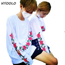 NYOOLO personality spring autumn handsome streetwear fashion tops rose flower print loose long sleeve T-shirt women/men clothing(China)
