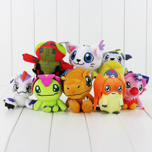 8Color Anime Digimon Agumon Gabumon Tailmon Tentomon Gomamon Piyomon Palmon Patamon keychain keyring Plush Toy Soft Pendant