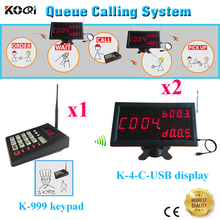 Queue Calling System Queue Management With LED 2pcs Display + 1 Keypad Call 999 Food Collect For Restaurant Hotel Coffee Shop