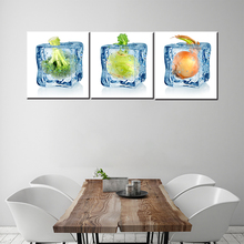3 pieces fresh vegetables oil painting printed on canvas for dinner room decor craft home decor dinning room coffee cafe pub(China)