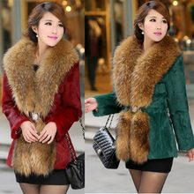 Fur 2017 autumn winter new large size women Slim rabbit fur collar luxury fashion mink fur coat fur women's coat