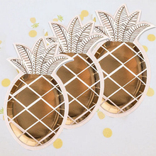 Mayitr 8pcs Disposable Pineapple Paper Plates Gold Dish Plates Tropical Party Theme Lovely Tableware Decoration