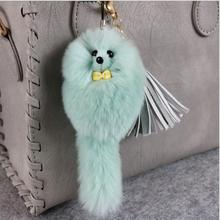 1pc 14CM Fashion Rabbit Fur Ball phone Keychain Pom Pom Fluffy Key Chains Pompom Car Keyring Women Bag Pendant pompom chaveiro