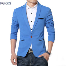 FGKKS Hot Sale New Arrival Blazer Mens Casual Jacket Solid Color Cotton Men Blazer Jacket Men Classic Mens Suit Jackets Coats