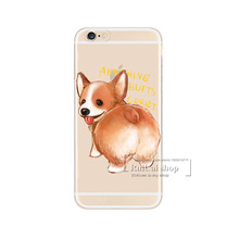Hot! Super Cute Corgi Case For iPhone 7 5 5S SE 6 6S Plus Sexy Cartoon Dog Ass Transparent Plastic Phone Cover For iPhone 7Plus