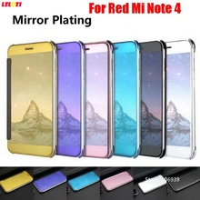 LELOZI Best Fashion Plating Clear View Hard PC Flip Book Mirror Phone Fundas Etui Case For Xiaomi Redmi Red Mi Note 4 Note4 Gold(China)