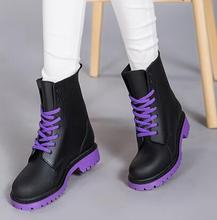 Fashion 2016 Women Rain Boots Rubber Lace Up Women Ankle Boots Waterproof Casual Comfort Ladies Martin Boots Shoes C238