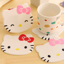 Cartoon Silicone Anti-skid Cup mat Cute KT kitty Cup Coaster Cup Cushion Holder Drink Cup Placemat Mat Pads Coffee Pad(China)