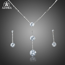 AZORA Hot Sale White Gold Color Stellux Austrian Crystal Water Drop Earrings and Necklace Jewelry Set TG0037