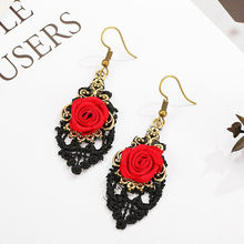 Handmade Lolita Earrings Red Flower Rose Black Drop Lace Dangle Gothic Alloy Earrings Jewelry Accessories Oorbellen Earring Sets(China)