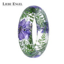 LIEBE ENGEL Transparent Resin Bracelet Bangle Dried Flower Red Leaf Love Bracelet Cuff For Women Best Gift Summer Jewelry 2017(China)