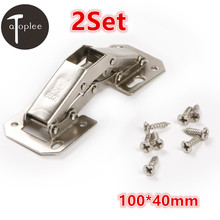 Atoplee 2Set 3.4mm No-Drilling Hole Cabinet Hinge Bridge Shaped Spring Frog Hinge Full Overlay Cupboard Door Hinges 100*40mm