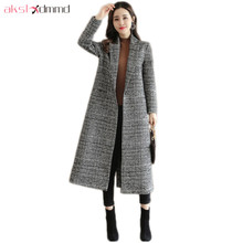 Buy AKSLXDMMD Fashion X-Long Wool Coat 2017 New Winter Casual Plaid Woolen Jacket Female Overcoat Abrigos Mujer LH1311 for $49.98 in AliExpress store