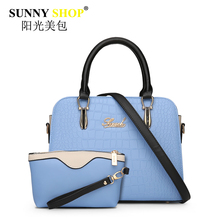 2017 New Women Composite Bags Pu Handbags Vintage Messenger Shoulder Bag Alligator Pink Zipper Clutch Soft Letter Tote Sac Mb28(China)