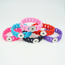Fashion SE0086 The New Silicone Trendy snap Bracelet 10pcs mixed Flexible fit 18MM snap buttons jewelry wholesale(China)