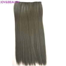 "JOY&BEAUTY Long Straight Synthetic Clip in Hair Extensions 5Clips 24"" 60cm 120g High Temperature Fiber Hair Women Hairpieces"