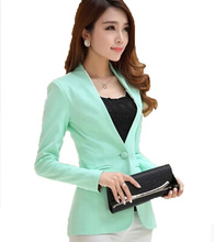 Free Shipping 2016 Spring Autumn Women Korean long-sleeved shrug suit Jackets,Slim candy color Blazers S M L XL QY1067(China)