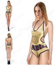 Robots Swimsuit Halter Bandage One-piece Women's Swimwear Golden Metal Robot Bodysuit Strappy Cut-out Sexy Bathing Suit Backless