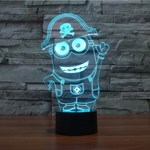2016 new small yellow people 3D light colorful LED visual light gift atmosphere table lamp with touch button 7 colors Child Gift