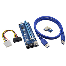 2017 New 1M PCI-Express PCI-E 1X to 16X Riser Card Extender PCIE Cable Adapter with USB 3.0 Cable / SATA to 4Pin Molex Power