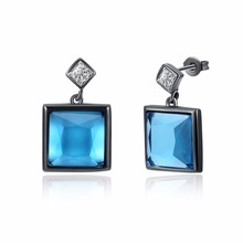 Hottest Fashion Jewelry Blue Crystal Rhinestone Square Stud Earrings New for Woman Gold Earrings Accessories bijoux(China)