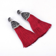 Boho Maroon Cayenne Red Chunky Silk Thick Tassel with Blak Rhinestone Cap Charm Studs Top Long Dangle Tassel Earrings For Women(China)